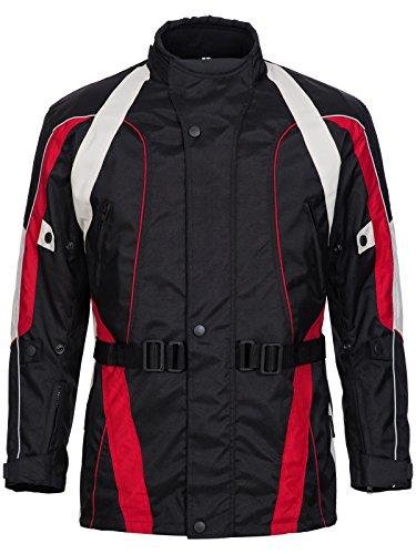 Limitless Herren Motorradjacke mit Protektoren und Reflektoren - Motorrad Jacke Cordura Textil - wasserdicht Winddicht Schwarz Rot Weiß Grau 788 Gr. 4XL