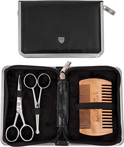 Drei Schwerter - Pflegeset'Gladio' für tägliche Bartpflege, Bartkamm, Bartschere, Nasenhaarschere, Kunst Leder Etui - Markenqualität (5526)