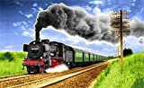 Fanshop Lünen Fahne - Flagge - Eisenbahn - Dampflok - Bahn - 90x150 cm - Hissfahne 2 Ösen - Lokomotive - Zug -