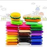 QMAY 24 Farben Polymer Ton Luft trockenen Lehm, Polymer Clay Magic Clay Künstler Studio Spielzeug, Modellierung Clay & Teig, kreative Kunst DIY Handwerk, Geschenk für Kinder (Tasche) …