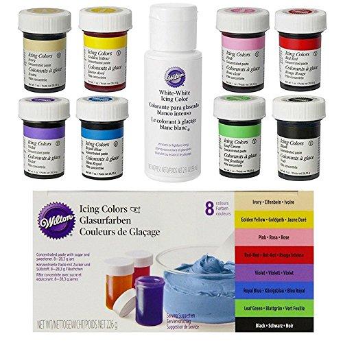 Wilton Lebensmittelfarben im Superset (8er Set plus Weiß)