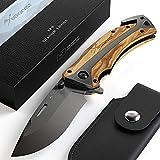 BERGKVIST Klappmesser 3-in-1 K29 Titanium [2019] Knife I Taschenmesser I Einhandmesser mit Holzgriff I Outdoor Messer I Jagdmesser mit Tasche, Schleifstein & eBook