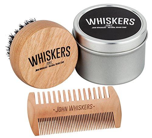 John Whiskers Bartbürste und Duo-Bartkamm - Bartpflege-Set mit reinen Wildschweinborsten und edler Aufbewahrungsbox - Ideal für Bartöl und Bartwachs