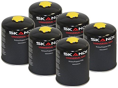Skandi 6er-Set Butan-Gas-Kartuschen für Gaskocher & -Brenner, EN417, je 450 g