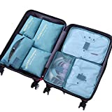 DoGeek Kleidertaschen Packing Cubes Satz von 7 Reise Kleidertaschen Verpackungswürfel Organizer Ideal für Seesäcke, Handgepäck und Rucksäcke- Blauer See