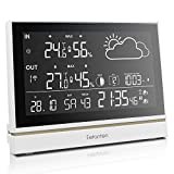 WS004E Wetterstation mit Riesiges LCD Bildschirm Display,Innen / Außen Thermometer und Hygrometer,Wetterprognose, barometrischer ,Mondphase