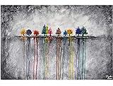KunstLoft Acryl Gemälde 'Buoyant Spirit' 120x80cm   original handgemalte Leinwand Bilder XXL für Esszimmer Schlafzimmer   Vögel Natur Tier Grau   Wandbild Acrylbild moderne Kunst einteilig mit Rahmen