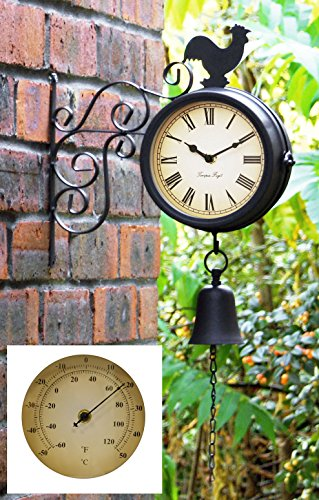 Über Zeit Halterung montiert Hahn und Glocke Garten Outdoor Uhr und Thermometer–47cm (18¾ in)