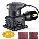 Schwingschleifer, TECCPO 210W Professional Schleifmaschine,Orbit-Oberfläche 105 * 114mm, 12pcs Schleifpapier (80 / 180Grits), zum Schleifen von Holz und Entfernen von Farbe - TASS22P