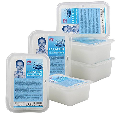 Kosmetex Paraffinwachs Neutral Parfümfrei Paraffin, Natural Paraffinbad mit niedrigeren Schmelzpunkt, 6x 500ml Neutral