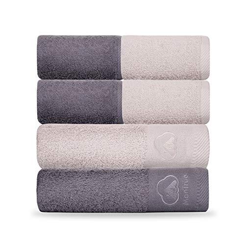 MonTrüe 500GSM stark wasserabsorbierendes Badetuch-Set, 2 Badetücher und 4 Handtücher, 100% Baumwolle, dunkelgrau und Silbergrau