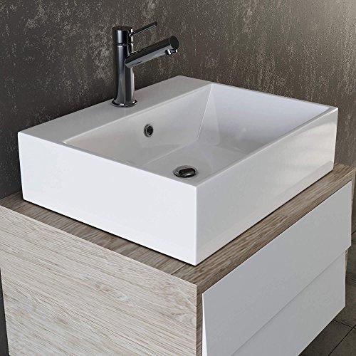 VILSTEIN Keramik Waschbecken Hängewaschbecken Aufsatzwaschbecken Waschtisch rechteckig eckig weiss 50 cm