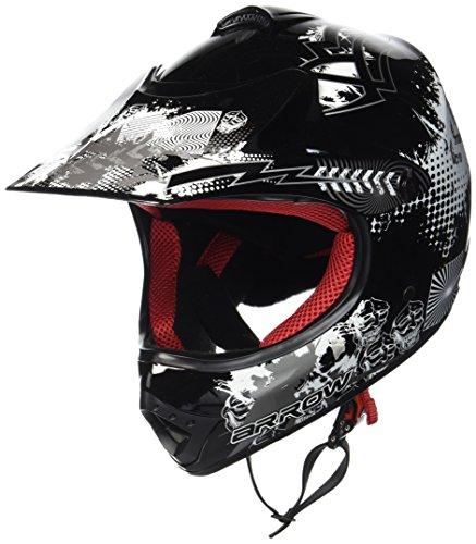 """ARMOR · AKC-49 """"Black"""" (Schwarz) · Kinder-Cross Helm · Enduro Motorrad Sport Moto-Cross Off-Road Kinder · DOT certified · Click-n-Secure Clip · Tragetasche · S (53-54cm)"""