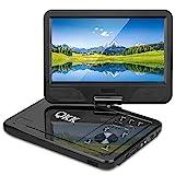 QKK 10.1' Tragbarer DVD Player, Auto DVD Player, 5 Stunden Akku, 270°drehbares HD Display, unterstützt USB und SD Karte, Schwarz.