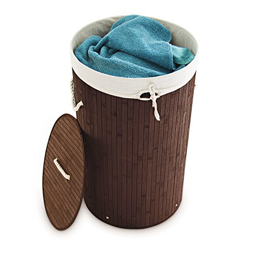 Relaxdays Wäschekorb Bambus rund Ø 41 cm, faltbare Wäschetruhe, Volumen 80 Liter, Wäschesack aus Baumwolle, braun