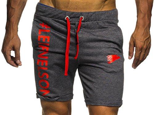 Leif Nelson Gym Herren Shorts Kurze Fitnesshose - Jogginghose Moderne Schwarze Männer Kurze Trainingshose Top Herren Sport-Hose für Bodybuilding Fitness 6296 Anthrazit-Rot Small