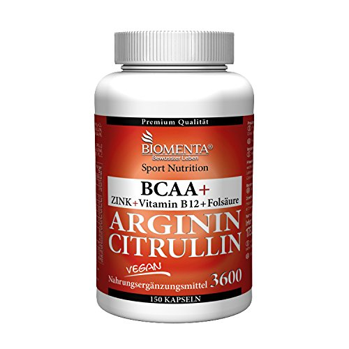 BIOMENTA 3.000 mg L-ARGININ BASE + 620 mg L-CITRULLIN MALAT + 1.000 mg BCAA | 150 VEGANE ARGININ CITRULLIN KAPSELN | OHNE TRENNMITTEL ODER SONSTIGE ZUSÄTZE