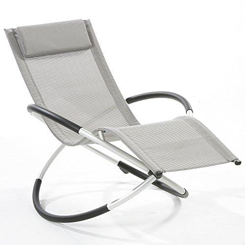 Relax-Gartenliege, Schaukelliege, Gartenliege, Sonnenliege, grau-kariert, Aluminium-Gestell, 155 x 98 x 84 cm