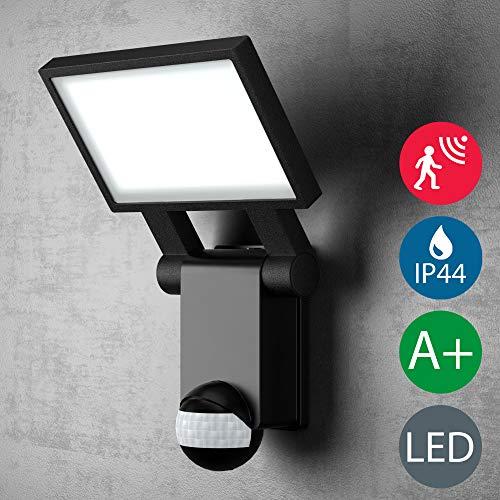 LED Außenwandleuchte | Außenleuchte | Wandleuchte | Wandstrahler in schwarz, Bewegungsmelder, Dämmerungssensor, inkl. 20W LED Platine 2000 lumen