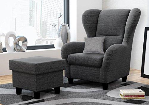 Ohrensessel mit Hocker grau im Landhausstil | Der perfekte Sessel für entspannte, lange Fernseh- und Leseabende. Abschalten und genießen!
