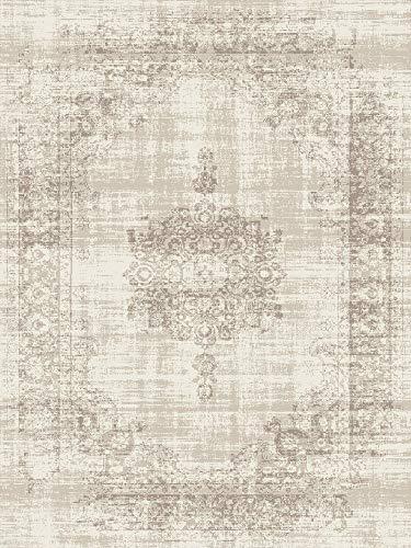 LIFA LIVING Vintage Teppich | im schönen Vintage Muster | für Wohnzimmer und Schlafzimmer | Farb und Größen Variationen | (Creme, 160 x 230 cm)