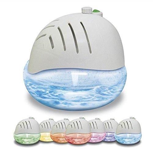 AMOS Luftreiniger Lufterfrischer Ionisator Frische Luft Reiniger mit Farbwechsel LED-Licht & 3 x 30ml Duftessenz Aroma (Weiß)