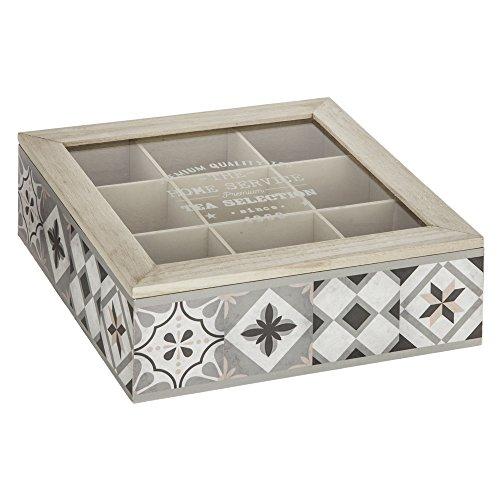 ATMOSPHERA Teekiste Holz Teebox Transparent Glasdeckel Tee Kiste Teekasten Teebehälter 24 x 24 x 8 cm