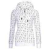Newbestyle Sweatjacke Damen Pullover Jacke Hoodie V Ausschnitt Pulli Sweatshirt Kapuzenpullover Print Oberteile mit Kordel und Zip Weiß M