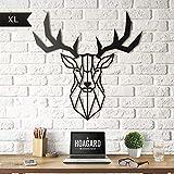 Deer Head XL Metal Wall Art by Hoagard | Hirschkopf XL Metall Wandkunst von Hoagard | 75 cm x 80 cm | Geometrische Metallwandkunst, Wanddekoration