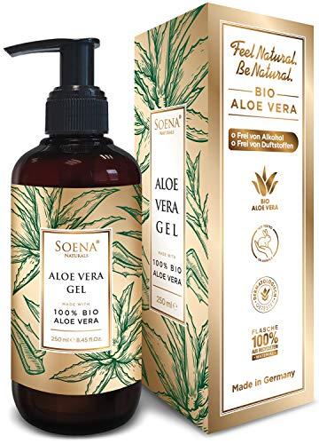 Aloe Vera Gel mit 100% Bio Aloe Vera | NATURKOSMETIK | Ohne Alkohol & Ohne Duftsoffe | Tierversuchsfrei - Feuchtigkeitspflege von Soena - After Sun - 250 ml - Aus Saft hergestellt - Made in Germany