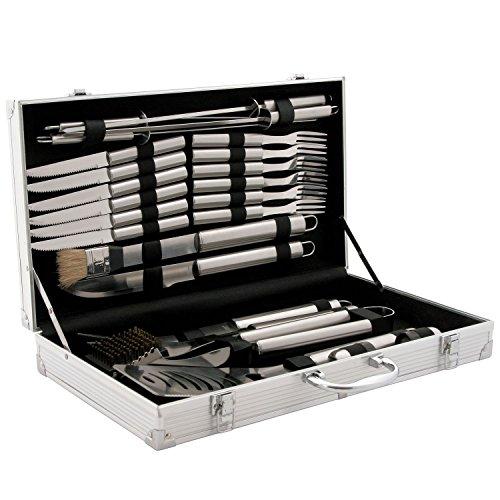 CampFeuer - Edelstahl Grillbesteck Set in 3 Varianten zur Auswahl, mit Aluminiumkoffer (24-teilig)