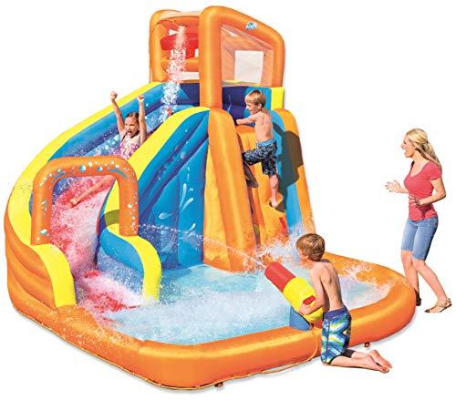Bestway H2OGO! Wasseroark Turbo Splash, Planschbecken mit Wasserrutsche und Kletterwand, 365x320x275 cm