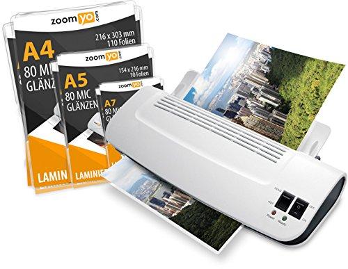 A4 Laminiergerät OL289 von zoomyo, kurze Aufwärmzeit - schnelles Laminieren (heiß/kalt), 30 Laminierfolien (80 mic) gratis, ideal für Büro, Home und Schule