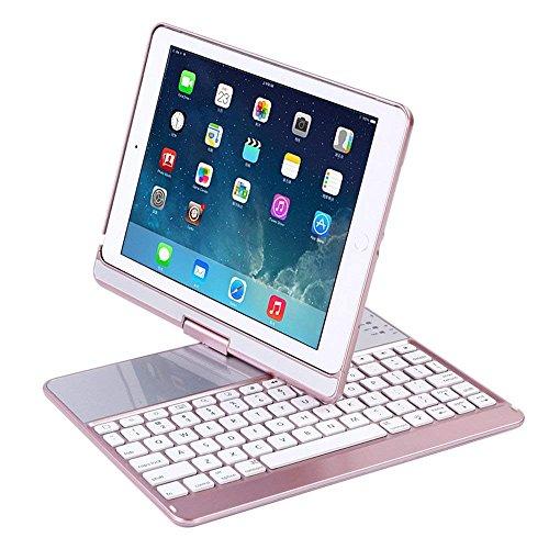 iPad Keyboard Case, Proslife 360 Grad Drehbare Abdeckung mit Drahtloser Tastatur, 7 Farben mit Hintergrundbeleuchtung, Automatische Schlaf/ Aufwach-Funktion für iPad 5/6/ Pro 9.7/ iPad Air