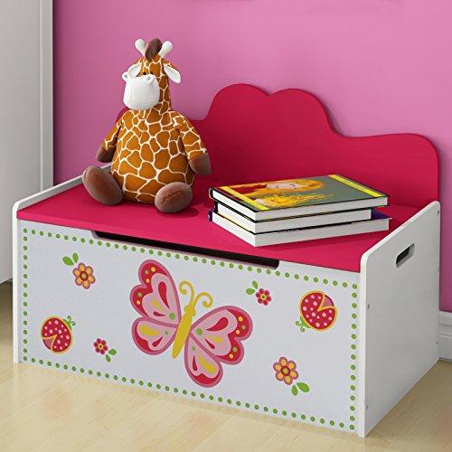 Truhenbank Kinder   Höhe 47,5 cm, Weiss, Rosa, Groß, Stauraum für das Spielzeug oder Anderes   Sitzbank Kinderzimmer, Kindermöbel, Spielzeugtruhe, Spielzeugkiste, Spielzeugbox