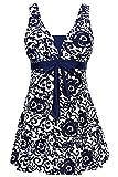 AMAGGIGO Amenxi Damen Kirschen Cherry/Blau-Weiß Einteiliger Spitze Figuroptimizer Sportlich Neckholder Retro Vintage Damen Badeanzug (EU 46-48, darkblue)