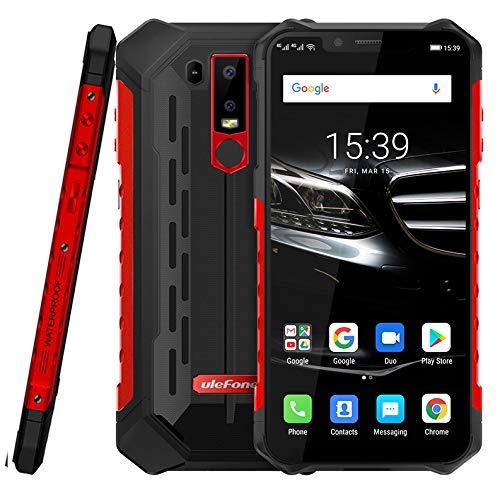 (2019) Ulefone Armor 6E Android 9.0 Robustes Smartphone Ohne Vertrag - Helio P70 Octa-Core Outdoor Handy 4 GB + 64GB,6,2''FHD+Kerbenbildschirm, drahtlose Aufladung/NFC, IP68 wasserdicht rot