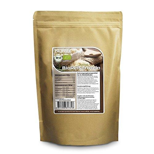 Nurafit BIO Reisprotein Pulver | 86% Proteingehalt | zertifizierte Spitzenqualität nach DE-001-ÖKÖ | 100% rein | Gesundes Superfood für Sport und Fitness | 1000g / 1kg