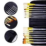 15 Künstlerpinsel Set. Handgefertigt, Premium-Qualität, 4 Pinsel mit Natürlichen und 11 Pinsel mit Synthetischen Borsten – Ideal für Aquarell-, Acryl, Gouache-, Öl-Farbe und Ges