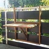XINRO Balkonhängetisch Klapptisch für Balkon Akazienholz Hängend 64,5x44,5x80cm Balkontisch Hängetisch Balkon Holzhängetisch