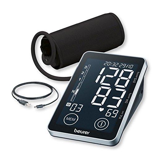 Beurer BM 58 Oberarm-Blutdruckmessgerät, mit Sensor-Touch-Knöpfen, beleuchtetes XL-Display, USB Schnittstelle