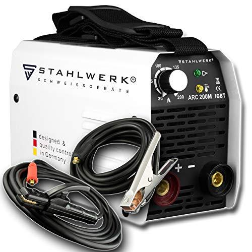 STAHLWERK ARC 200 M IGBT - Schweißgerät DC MMA/E-Hand Welder mit echten 200 Ampere sehr kompakt, weiß, 5 Jahre Herstellergarantie