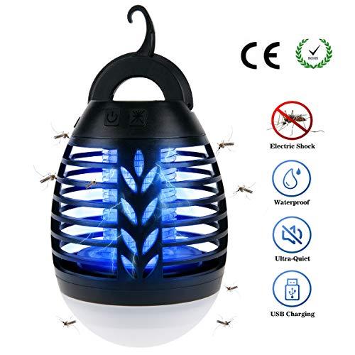 BACKTURE Camping Laterne Insektenvernichter, 2-in-1 Bug Zapper LED Moskito Killer wasserdicht USB wiederaufladbare für Indoor & Outdoor Camping, Reisen, Wandern