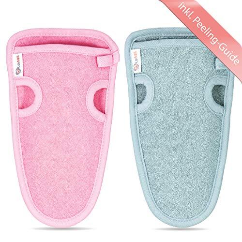 2 Stück - LoWell  - Peelinghandschuh rau inkl. Peeling-Guide + 2 x BONUS Saugnapf - LUXUS für deinen Körper - Wellness Handschuh - Dusch Schwamm Body - Hamam Handschuhe Gesicht (Grau + Pink)