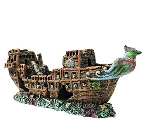 SLOME Aquarium Piratenschiff Dekorationen Aquarium Ornamente - Resin Material Schiffbruch Dekorationen, umweltfreundlich für Süßwasser Salzwasser Aquarium Sunken Schiff Zubehör