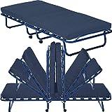 Gästebett Smart mit Matratze Lattenrost und Rollen klappbar 80 x 190 cm Klappbett mit stabilem Metall-Rahmen Gästeliege