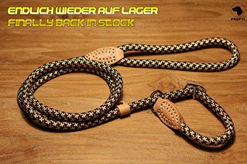 PROFTI Retrieverleine aus Nylon, Lederelemente, Zugstopp, große/kleine Hunde, 1,5 Meter, Schwarz/Beige