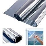 Modrad Spiegelfolie selbstklebend Sonnenschutzfolie Fenster Sichtschutzfolie Anti-UV für Büro und Haus Silber Fenstertönung