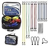 CARCRAFT 24er Set Premium Spanngummis bzw. Gepäckspanner mit Haken / inkl. Tasche / extra starke u. langlebige Expander / Spanngurte / Spannseile