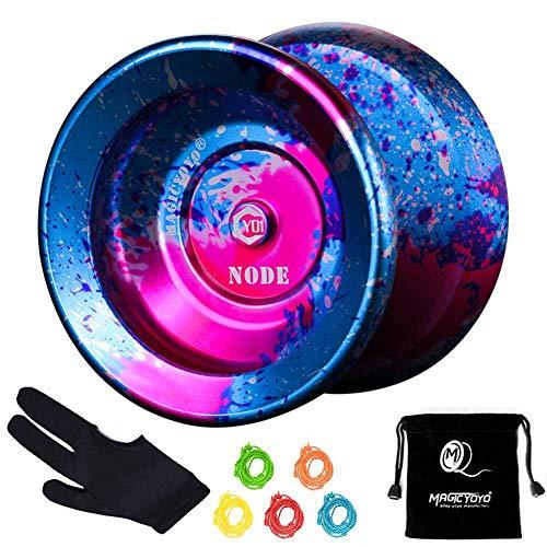 Magic Yoyo Professional Unresponsive Yoyo Y01 NODE, Long Spinning Time Prettiest Yoyo with Glove, Yoyo Bag and 5 Replacement YoyoStrings (blue&pink&silver)